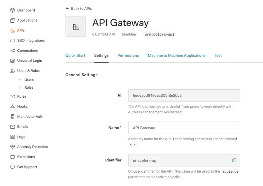 Configuring API settings in Auth0