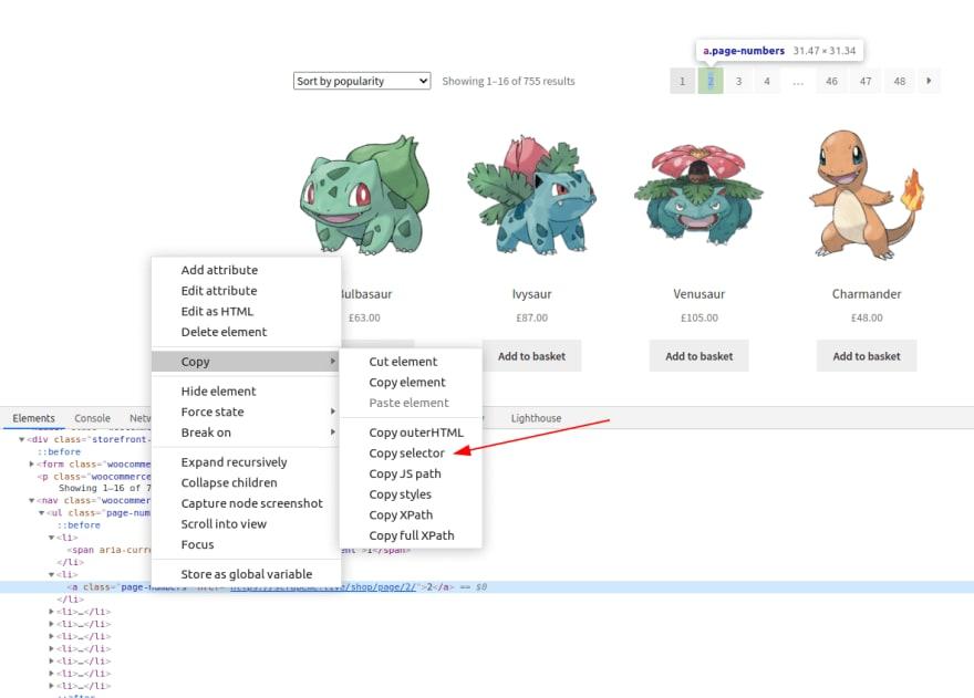 Copy Selector from DevTools