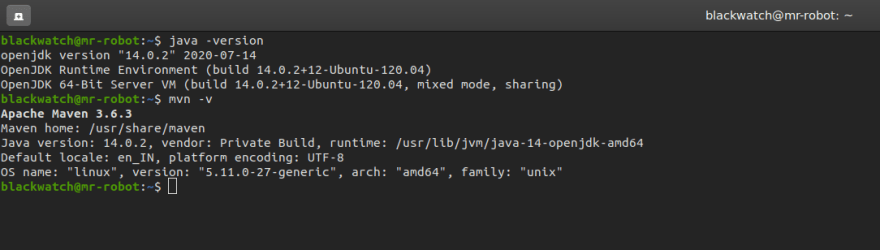 Screenshot of what output of above commands should look like