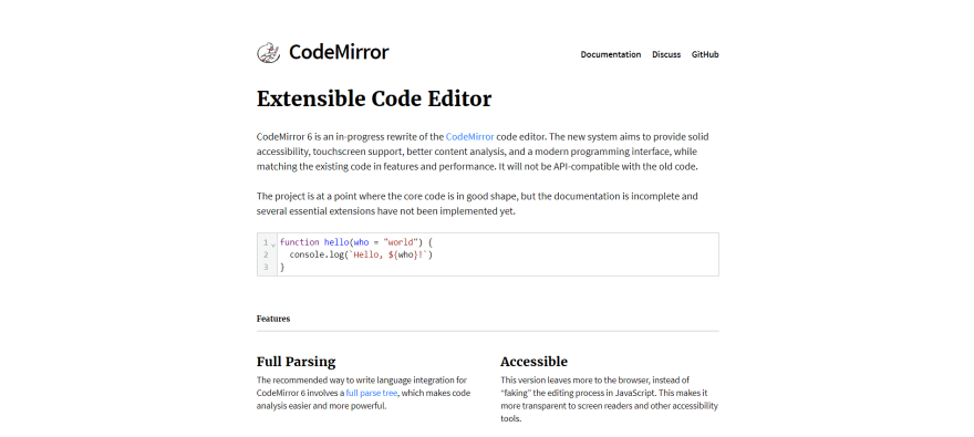 CodeMirror official landing page