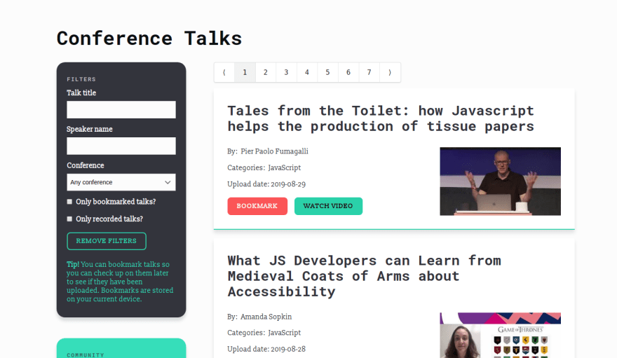 The list of conference talks on ConfTalks