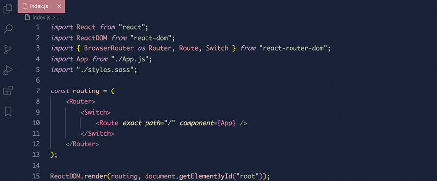 React code snippet with the Rouge theme