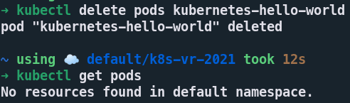 kubectl delete pod<br>  output
