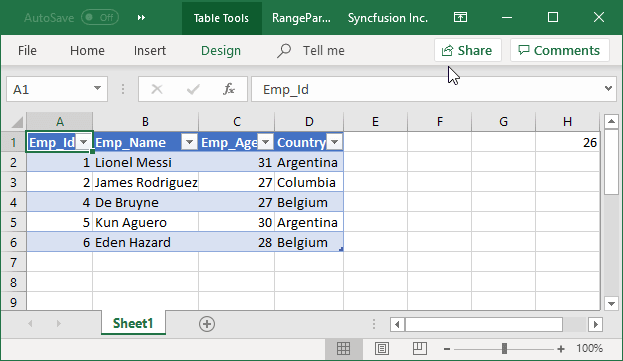 Excel file generated with RANGE parameter query