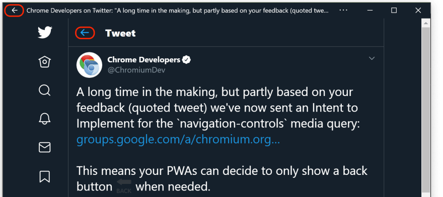 Two back buttons in Twitter's PWA, one from Windows 10, one from the app.