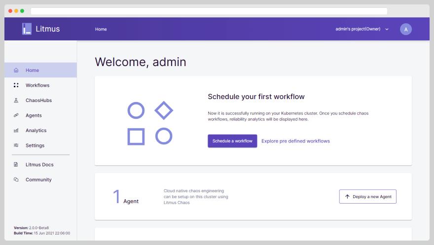 LitmusChaos Portal Dashboard Page