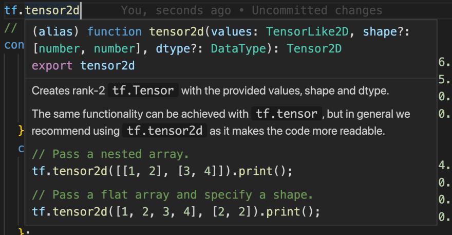 VS Code documentation for the tensor2d function.