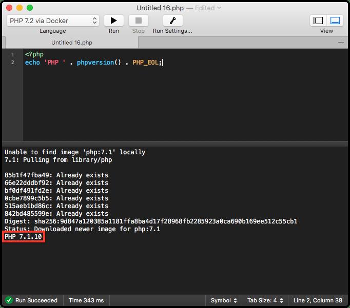 Running PHP 7.1 with CodeRunner via Docker