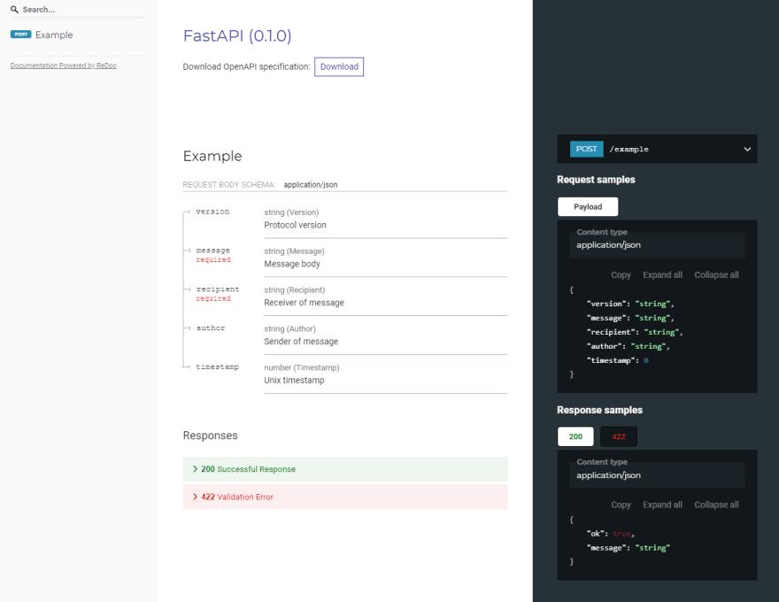 Automatic documentation example using redoc