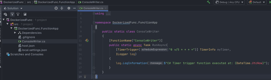Azure Functions app in Rider
