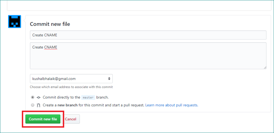Adding CNAME file to repository