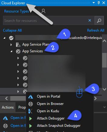 Cloud Explorer -> MySubscription -> AppServices -> rightclic en MyAppService -> Attach debugger