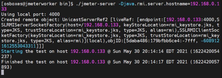 JMeter Worker Output - Distributed Load Testing in JMeter using VirtualBox