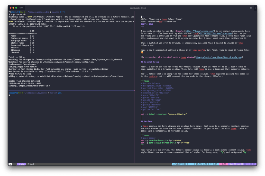 a screenshot of a terminal with a tmux window