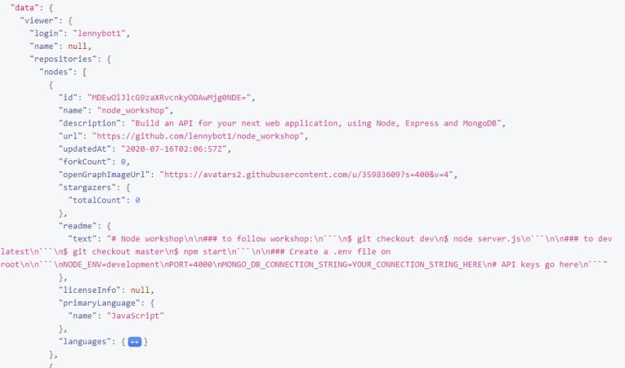 Get repo details in Github GraphQL explorer