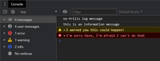 Chrome DevTool log message types
