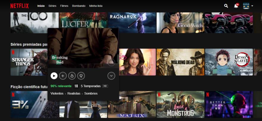 Imagem da Interface do Netflix