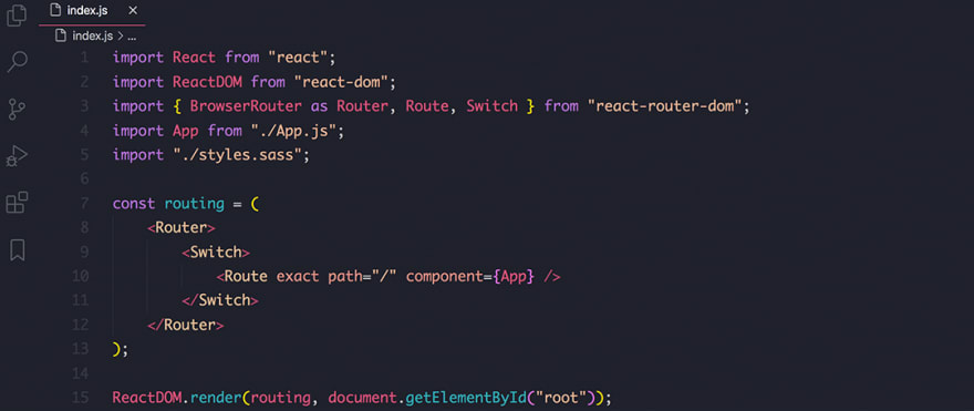 React code snippet with the Horizon theme