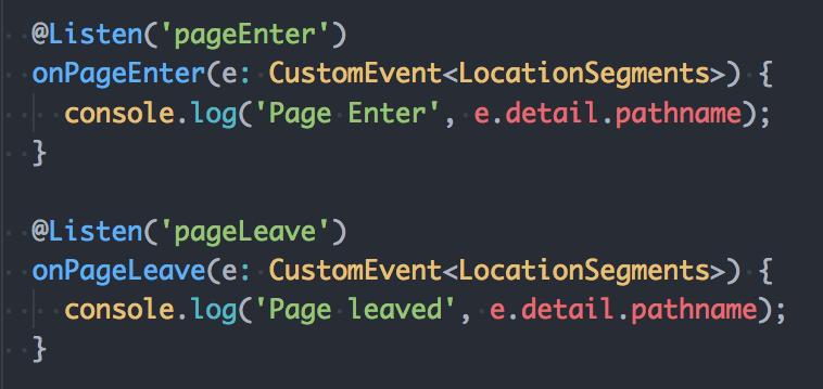 StencilJS Router Events