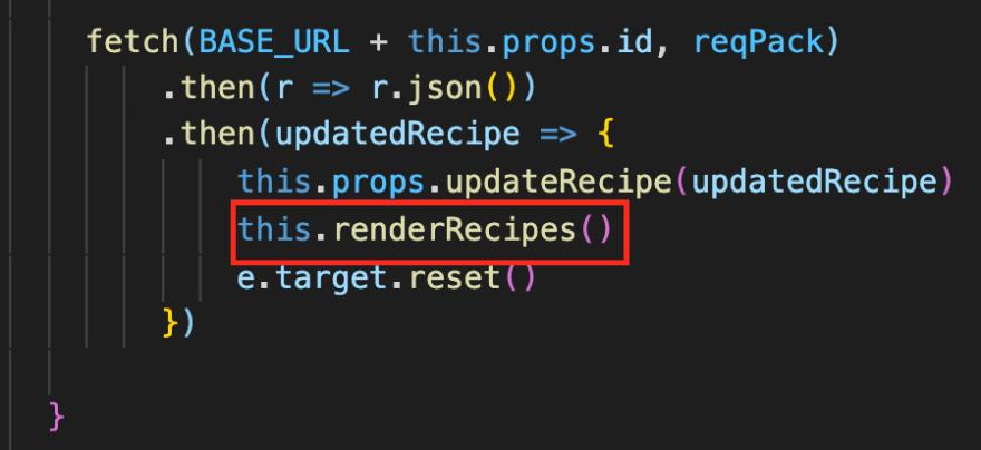 calling renderRecipes after editing a recipe