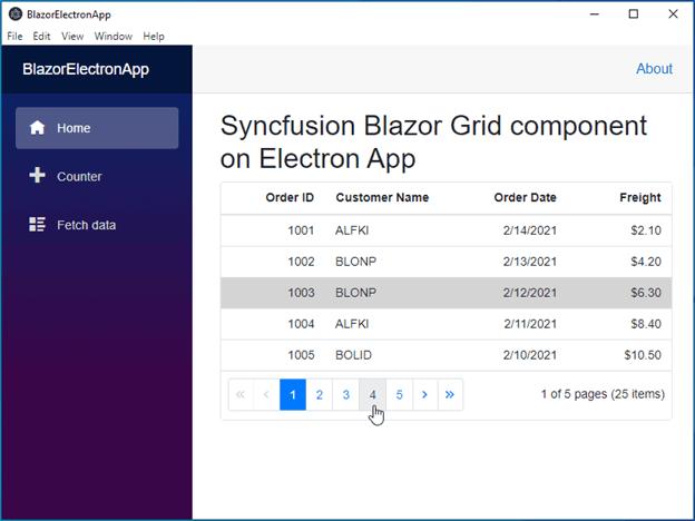 Syncfusion Blazor DataGrid in Desktop Electron Shell