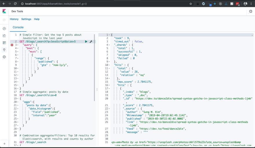 Screenshot of Elastic Stack with developer blog data