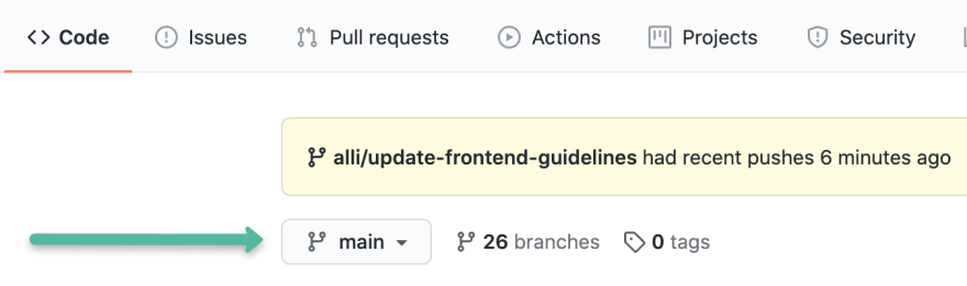 A screenshot from GitHub: There is an arrow pointing to the branch selector, where the main branch is selected.