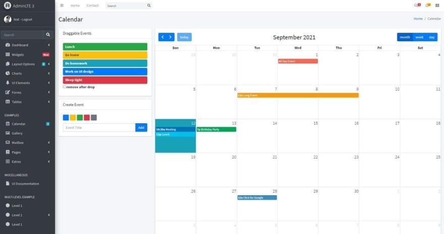 AdminLTE - Open-source Django Dashboard, the calendar page.