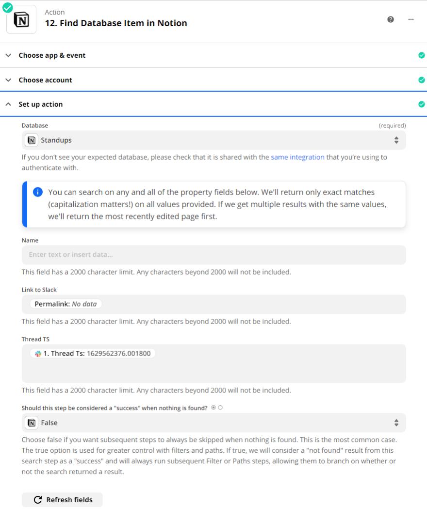 find database item in Notion
