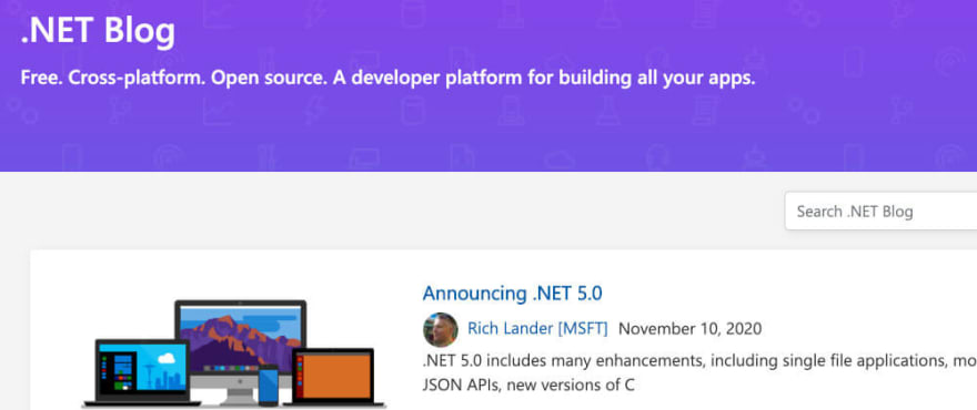 Screenshot of the .NET Blog