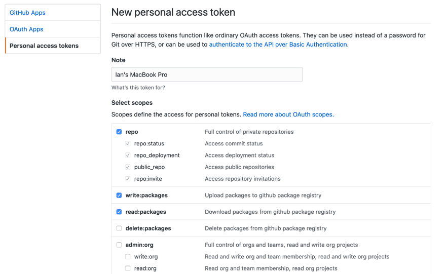 screenshot showing the setup page for a github access token