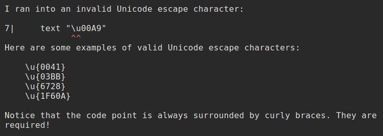 Unicode escape characters error message