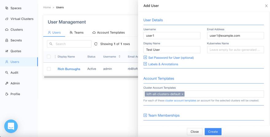 Adding a user in Loft