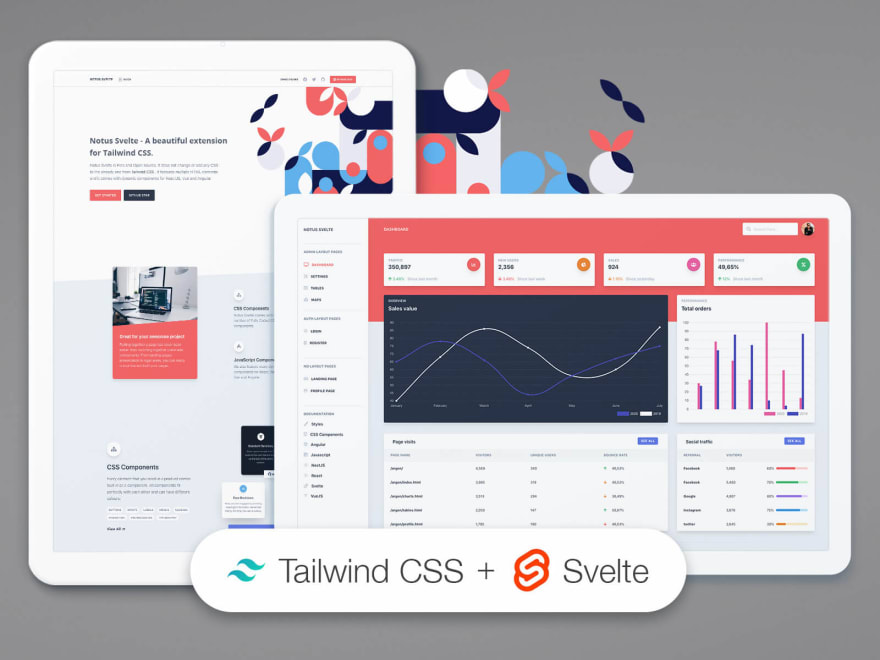 Svelte Admin Template - Notus, open-source admin dashboard coded in Tailwind and Svelte.