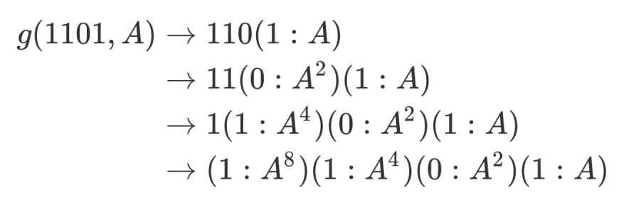 Binary exponentiation for 13 - expanded