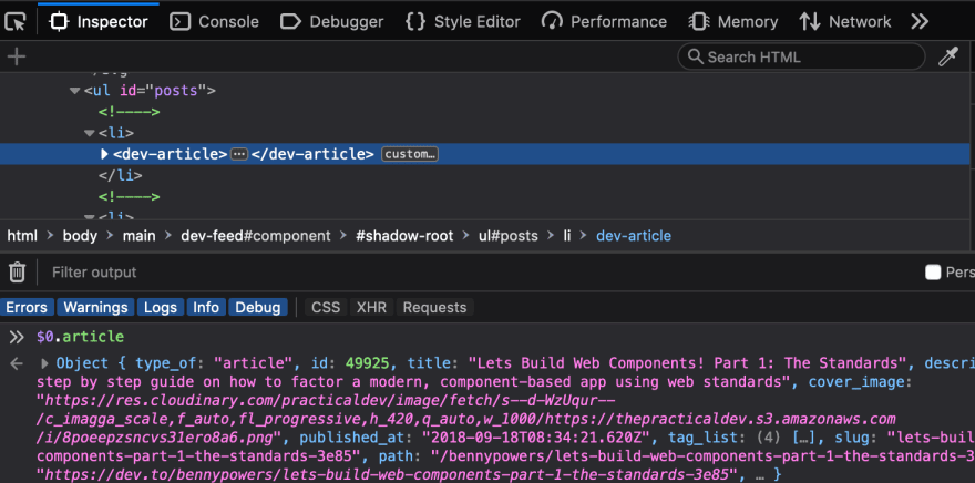 Screenshot from Firefox Dev Tools Showing the article DOM property of a dev-article element