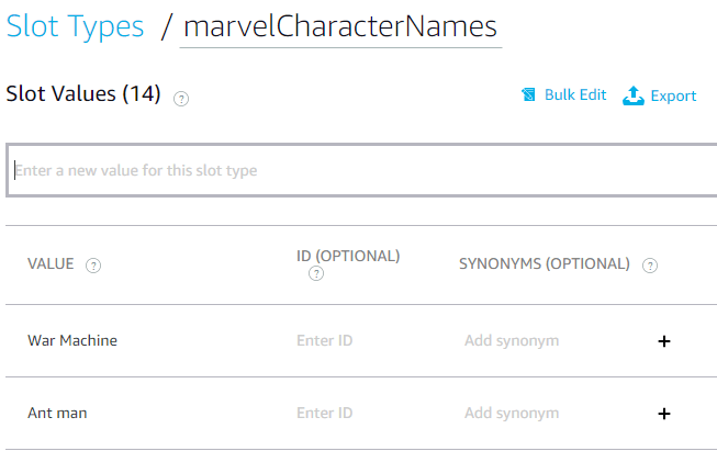 marvelCharactersName slot type