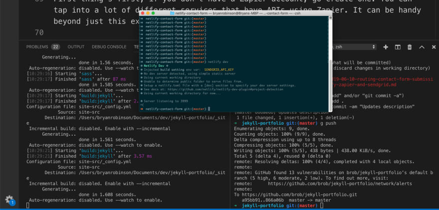 Image of the Mac terminal with solarized theme and in the background 2 VS Code terminals
