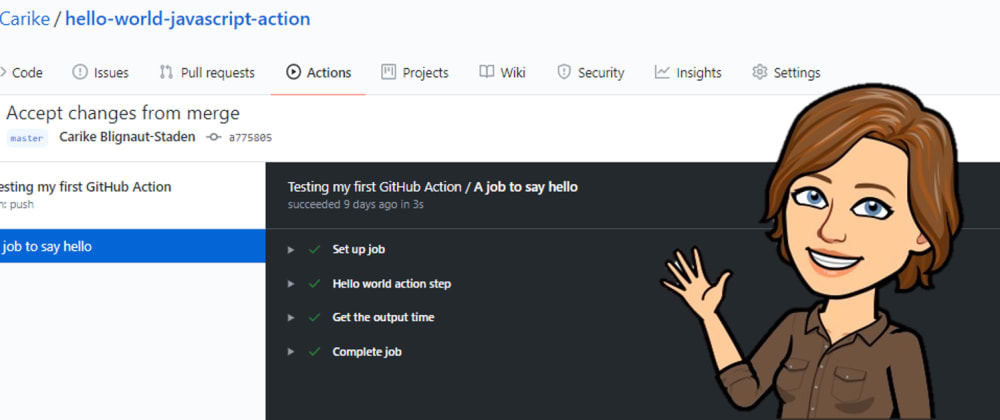 Cover image for My 1st GitHub Action