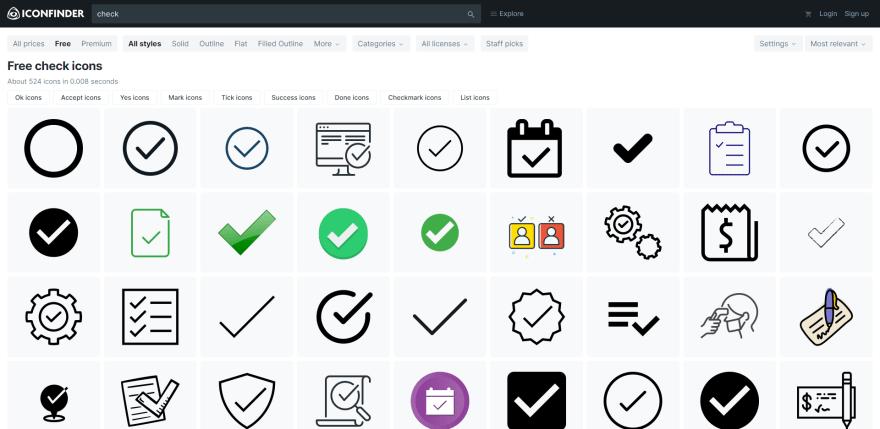 Screenshot of Iconfinder