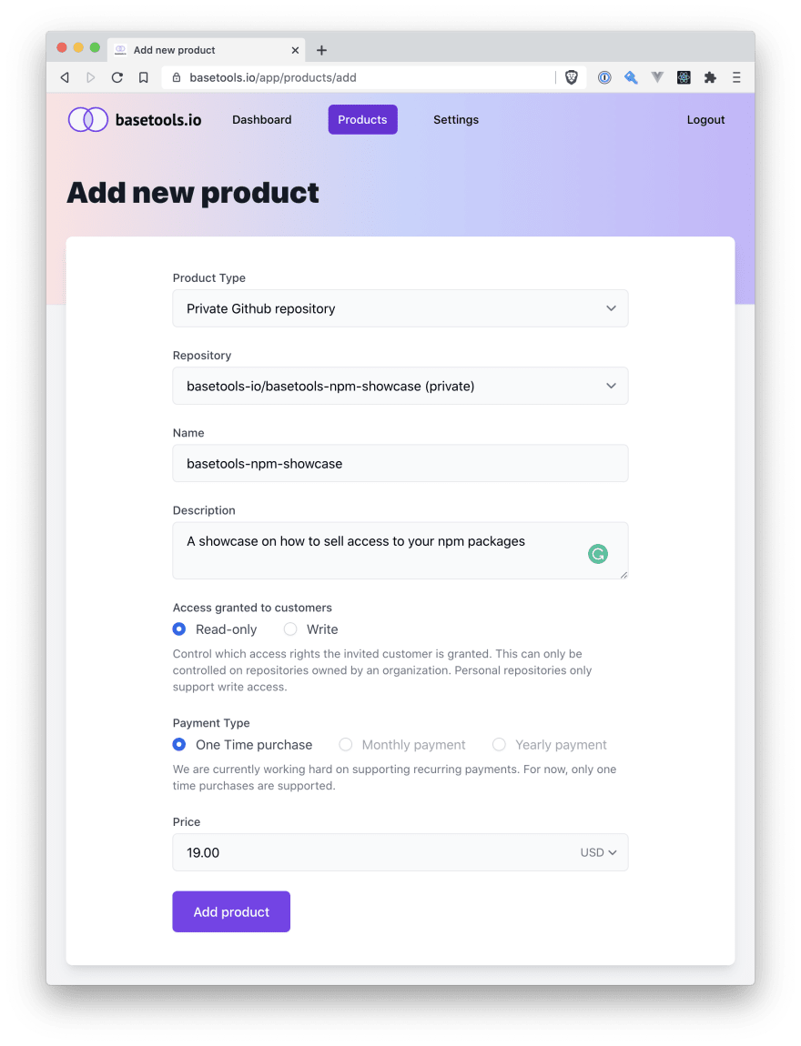 Add the npm packlage as a product to basetools