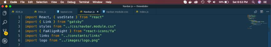 Navbar.js header