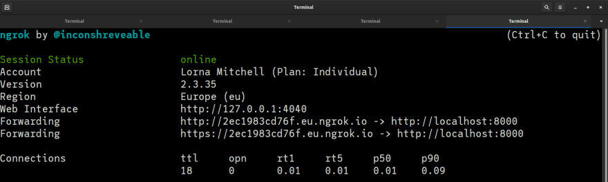 Screenshot of the ngrok console after startup