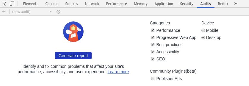 Example of running Lighthouse through Google Chrome
