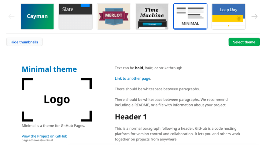 Theme selection page, with a focus on the Minimal theme. Below the selection bar, there is a preview of this theme.