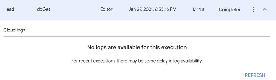 Execution log panel