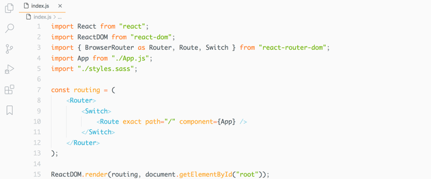 React code snippet with the Ayu - Light theme
