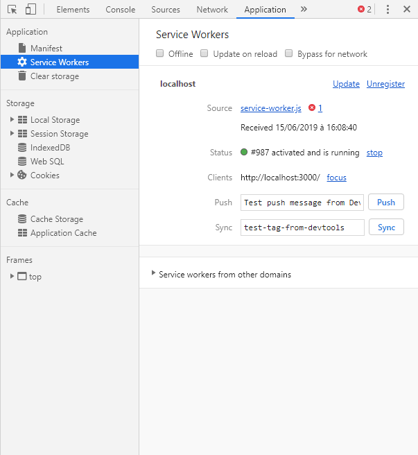 Service worker is not waiting the previous anymore and is installed correctly, viewing it in the application panel of the chrome console developper