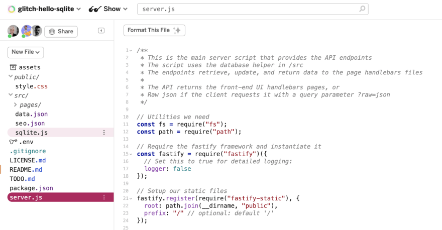 screenshot of ~glitch-hello-sqlite in the editor showing the file sqlite.js which has the code needed to provide the API endpoints for this particular kind of database