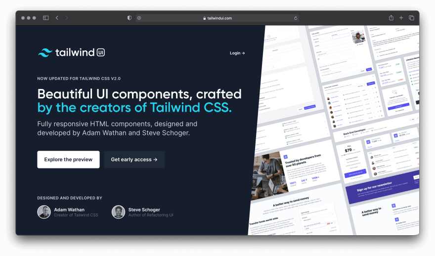 Screenshot of Tailwind UI website